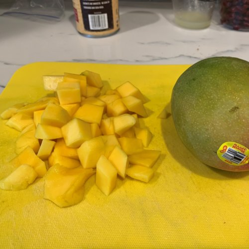 chicken ginger mango rice bowl cut mango