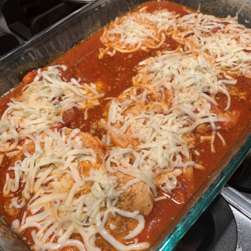 chicken parm transfer to baking dish