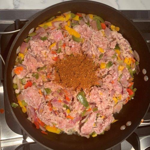 10 minute taco salad add turkey and seasoning