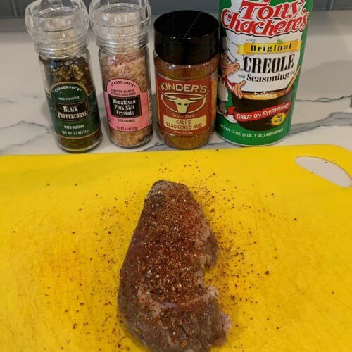air fryer steak lightly season w. s p creole and blackening