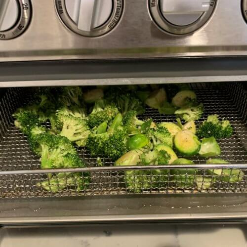 brussel sprout broccoli cook for 10 min flipping halfway through
