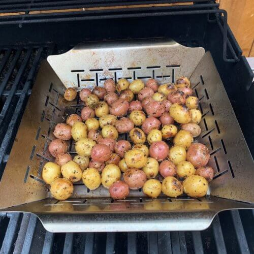 grilled baby potatoes on grill